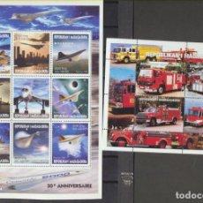 Sellos: MADAGASCAR 1999. MILLENIUM Y COCHES DE BOMBEROS. 2 HB **. Lote 210959050
