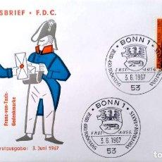 Francobolli: ALEMANIA. SPD 400 FRANZ VON TAXIS. 1967. MATASELLO PRIMER DÍA.. Lote 212253473