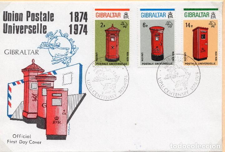 SOBRE 1R DIA CENTENARIO UPU 1974, GIBRALTAR, MICHEL 310B+311B+312B (Sellos - Historia Postal - Sellos otros paises)
