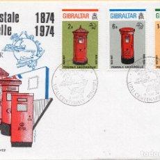 Francobolli: SOBRE 1R DIA CENTENARIO UPU 1974, GIBRALTAR, MICHEL 310B+311B+312B. Lote 213526662