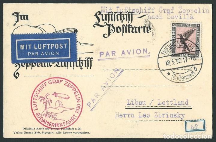 GRAF ZEPPELIN 1930 DE FRIEDRICHSHAFEN A LETONIA VIA SEVILLA (Sellos - Historia Postal - Sellos otros paises)