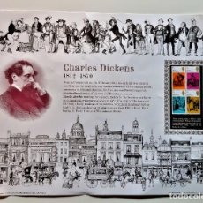 Sellos: CHARLES DICKENS 1812-1870 HISTORIA HOJA CON SELLOS STAMP SIN MONTAR - 38 X 31.CM. Lote 213973212