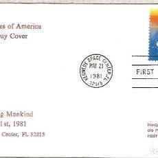Sellos: ESTADOS UNIDOS USA 1981 MAT KENNEDY SPACE CENTER SHUTTLE. Lote 214004690