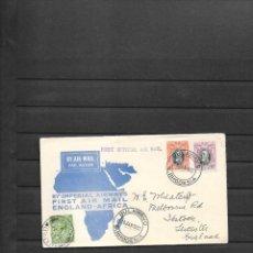 Sellos: PRIMER VUELO DE BULAWAYO RHODESIA DEL SUR A INGLATERRA EN 1932. Lote 215748882