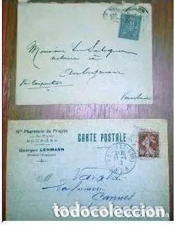 SOBRES CIRCULADOS FRANCIA 2 CARTAS POSTAL. 1900 Y 1912 (Sellos - Historia Postal - Sellos otros paises)