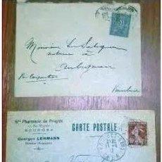 Sellos: SOBRES CIRCULADOS FRANCIA 2 CARTAS POSTAL. 1900 Y 1912. Lote 216538716