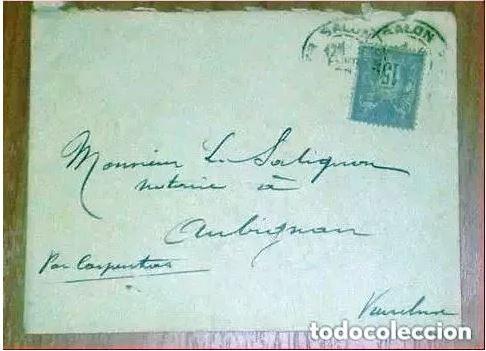 Sellos: Sobres Circulados Francia 2 Cartas Postal. 1900 y 1912 - Foto 2 - 216538716