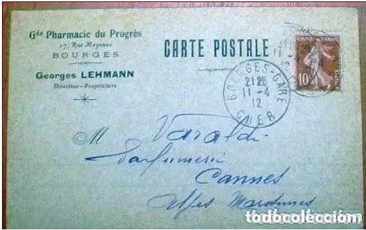 Sellos: Sobres Circulados Francia 2 Cartas Postal. 1900 y 1912 - Foto 3 - 216538716