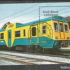 Francobolli: GUINEA BISSAU HOJITA MATASELLADA FERROCARRIL RAILWAY TREN RENFE FABRICADO POR CAF EN BEASAIN. Lote 221357867