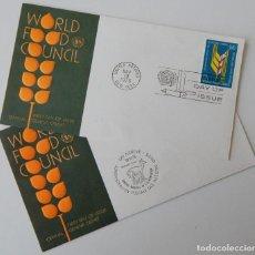 Sellos: 2 FDC NACIONES UNIDAS 1976 / CONSEJO MUNDIAL DE LA ALIMENTACIÓN - WORLD FOOD COUNCIL UNITED NATIONS. Lote 221522061