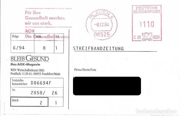 ALEMANIA FEDERAL. FRANQUEO MECANICO. PLAUEN 1994 (Sellos - Historia Postal - Sellos otros paises)