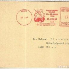 Sellos: AUSTRIA WIEN FRANQUEO MECANICO METER SCOUT SAN JORGE DRAGON SAINT GEORGE. Lote 222864241
