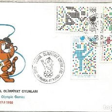 Sellos: TURQUIA FDC JUEGOS OLIMPICOS DE SEUL 1988 SEOUL OLYMPIC GAMES. Lote 222871366