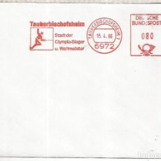 Sellos: ALEMANIA TAUBERBISCHOFHEIM FRANQUEO MECANICO METER ESGRIMA FENCING. Lote 222871790