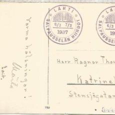 Sellos: FINLANDIA LAHTI 1937 ESQUI SKI GAMES SALPAUSSELAN HIIHDOT. Lote 222884293