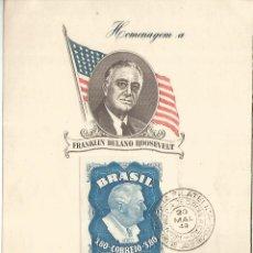 Sellos: BRASIL 1949 FRANKLIN DELANO ROOSEVELT POTUS USA WW2. Lote 222884783