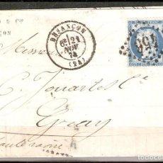 Sellos: FRANCIA. 1874.CARTA CIRCULADA BESANCON A GRAY. Lote 224114617