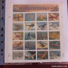Sellos: 1997 PLIEGO DE 20 SELLOS DE OPC USA CLASSIC AMERICAN AIRCRAFT. Lote 227268810