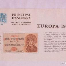 Sellos: ANDORRA VEGUERIA EPISCOPAL EUROPA CODIGO CODICE DE JUSTINIANO 1983, AÑO 534. Lote 227269505