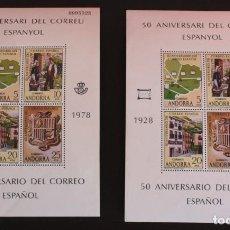 Sellos: 2 HB 50 ANIVERSARIO DEL CORREO ESPAÑOL. ANDORRA. Lote 227269835