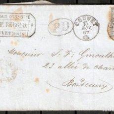 Sellos: SUIZA. 1867. CARTA DE COUVET. FABRICA DE LICORES.. Lote 231843860