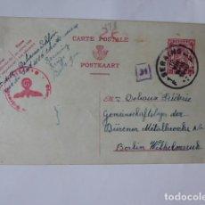 Sellos: ENTERO POSTAL BELGICA DIRIGDO A BERLIN 1940. Lote 242341395