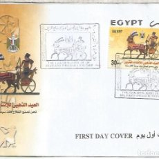 Sellos: EGIPTO EGYPT FDC 2004 CARRO DE GUERRA MILITAR SOLDADO WAR MILITARY INDUSTRIES. Lote 246084445