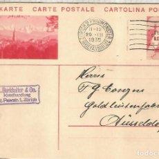 Sellos: SUIZA ENTERO POSTAL BERN MAT ZURICH 1932 AGUJERO ARCHIVO. Lote 246087310