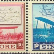 Sellos: 🚩 SINGAPORE 2019 THE 100TH ANNIVERSARY OF THE FIRST AIRMAIL MNH - STAMPS ON STAMPS, AIRCRA. Lote 246426255