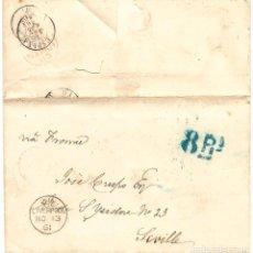 Sellos: 1861 CARTA DE LIVERPOOL A SEVILLA. FRANQUEO INSUFICIENTE. TASA 8 REALES.. Lote 247178750