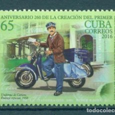 Sellos: ⚡ DISCOUNT CUBA 2016 THE 260TH ANNIVERSARY OF POSTAL DELIVERY IN CUBA MNH - MOTORCYCLES, POS. Lote 253845610