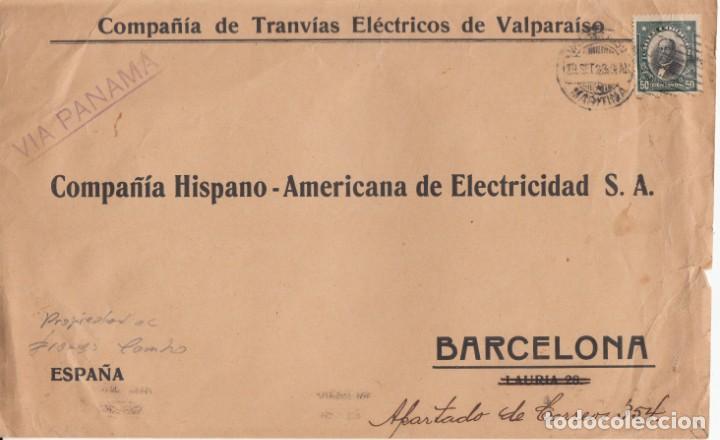 TEMATICA TREN-FERROCARRIL --FRAGMENTO C TRANVIAS ELECTRICOS DE VALPARAISO -CHILE- DIRIGIDA BARCELONA (Sellos - Historia Postal - Sellos otros paises)