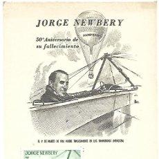 Sellos: 50 ANIVERSARIO DEL FALLECIMIENTO DE JORGE NEWBERY. TARJETA. ARGENTINA 1964. Lote 255519180