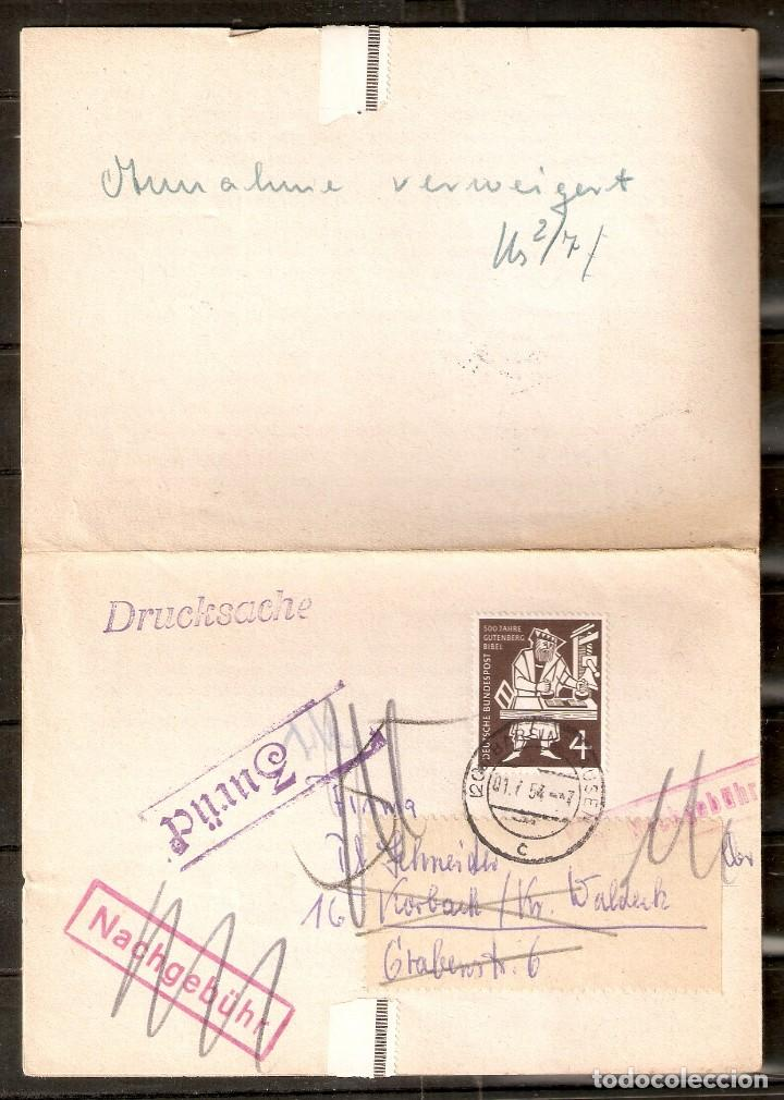 ALEMANIA FEDERAL.1954. DOCUMENTO PALA PLEGABLE. (Sellos - Historia Postal - Sellos otros paises)