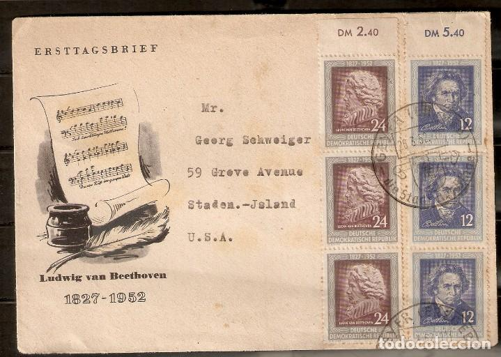 ALEMANIA DDR. 1952. MI 300,301. TODESTAG VON LUDWIG VAN BEETHOVEN. MUSICA. (Sellos - Historia Postal - Sellos otros paises)
