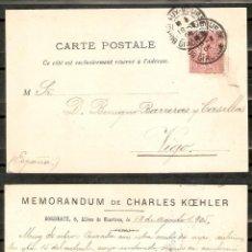 Sellos: FRANCIA.1905. TARJETA PUBLICITARIA PRIVADA. BURDEOS A VIGO.. Lote 257398155