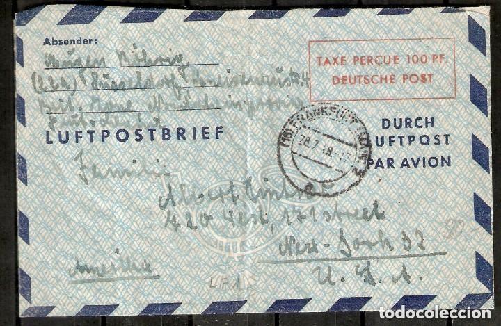 1948. LUFTPOSTBRIEF TAXE PERCUE 100 PF DEUTSCHE POST. CIRCULADO A NUEVA YORK. (Sellos - Historia Postal - Sellos otros paises)