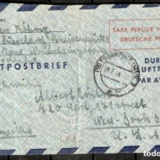 Sellos: 1948. LUFTPOSTBRIEF TAXE PERCUE 100 PF DEUTSCHE POST. CIRCULADO A NUEVA YORK.. Lote 257401300