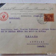 Sellos: ANTIGUO SOBRE SOCIEDADE COMERCIAL PEREIRA BERNANDINO.VINHOS.BRANDIES.BOMBARRAL.PORTUGAL 1956. Lote 259064080