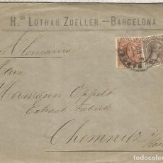 Sellos: BARCELONA A ALEMANIA CC SELLOS PELON 1895 LLEGADA A CHEMNITZ. Lote 262060875