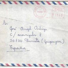 Sellos: CHILE TALAGANTE CC A ESPAÑA FRANQUEO MECANICO METER. Lote 263008445