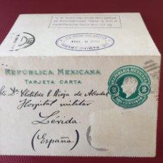 Sellos: CARTA POSTAL- TARJETA CARTA DE MÉXICO DF A LÉRIDA.1914. Lote 265411609