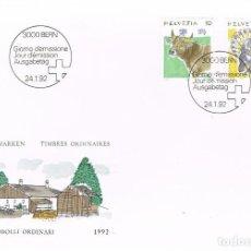 Sellos: SUIZA IVERT Nº 1389/90, BUEY Y PAVO, MATASELLOS PRIMER DIA DEL 24-1-1992. Lote 269699693