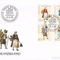 Sellos: SUIZA IVERT Nº 1343/6, GRABADOS DE DAVID HERRLIBERGER (SIGLO XVIII), SOBRE PRIMER DIA DE 22-5-1990. Lote 269703943