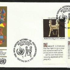 Sellos: NACIONES UNIDAS 1991 SOBRE PRIMER DIA DE CIRCULACION DERECHOS HUMANOS. Lote 277065868