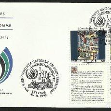Sellos: NACIONES UNIDAS 1991 SOBRE PRIMER DIA DE CIRCULACION DERECHOS HUMANOS. Lote 277065918