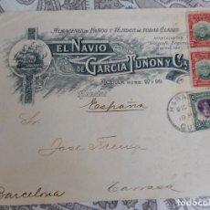 Sellos: ANTIGUO SOBRE.EL NAVIO DE GARCIA TUÑON Y CIA.ALMACENES PAÑOS Y TEJIDOS.HABANA.CUBA.. Lote 279450208