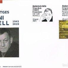 Sellos: ANDORRA ESPAÑOLA, ANTONI MORELL, ESCRITOR, PRIMER DIA DE 23-4-2021. Lote 279576638