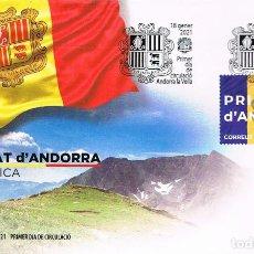 Sellos: ANDORRA ESPAÑOLA, BANDERA, PRIMER DIA DE 18-1-2021. Lote 279576918