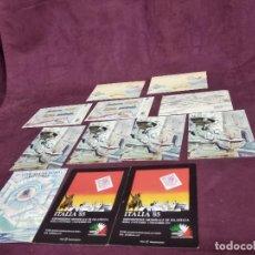 Francobolli: 12 TARJETAS PUBLICITARIAS DE EXPOSICIONES MUNDIALES DE FILATELIA, ITALIA, FRANCIA, FINLANDIA. Lote 287719928